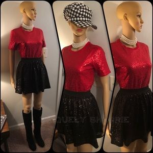 DKNY Red Sequin Tee